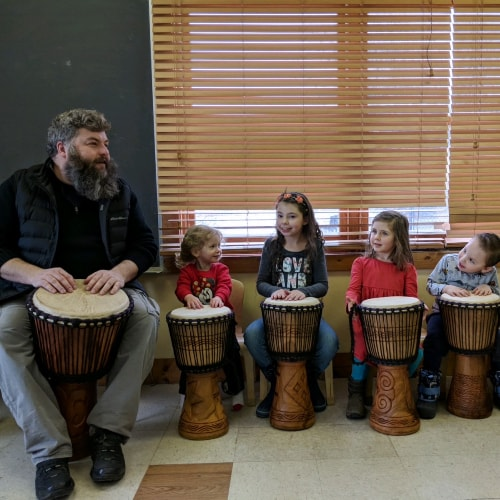Griffin Brady - Introduction to African Drumming Kids - Music Workshop - Buffalo Music Club